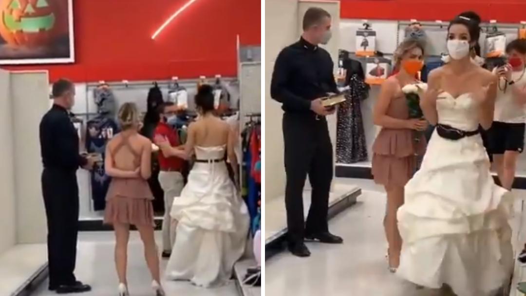 Mujer le exige casarse yendo vestida de novia a su trabajo