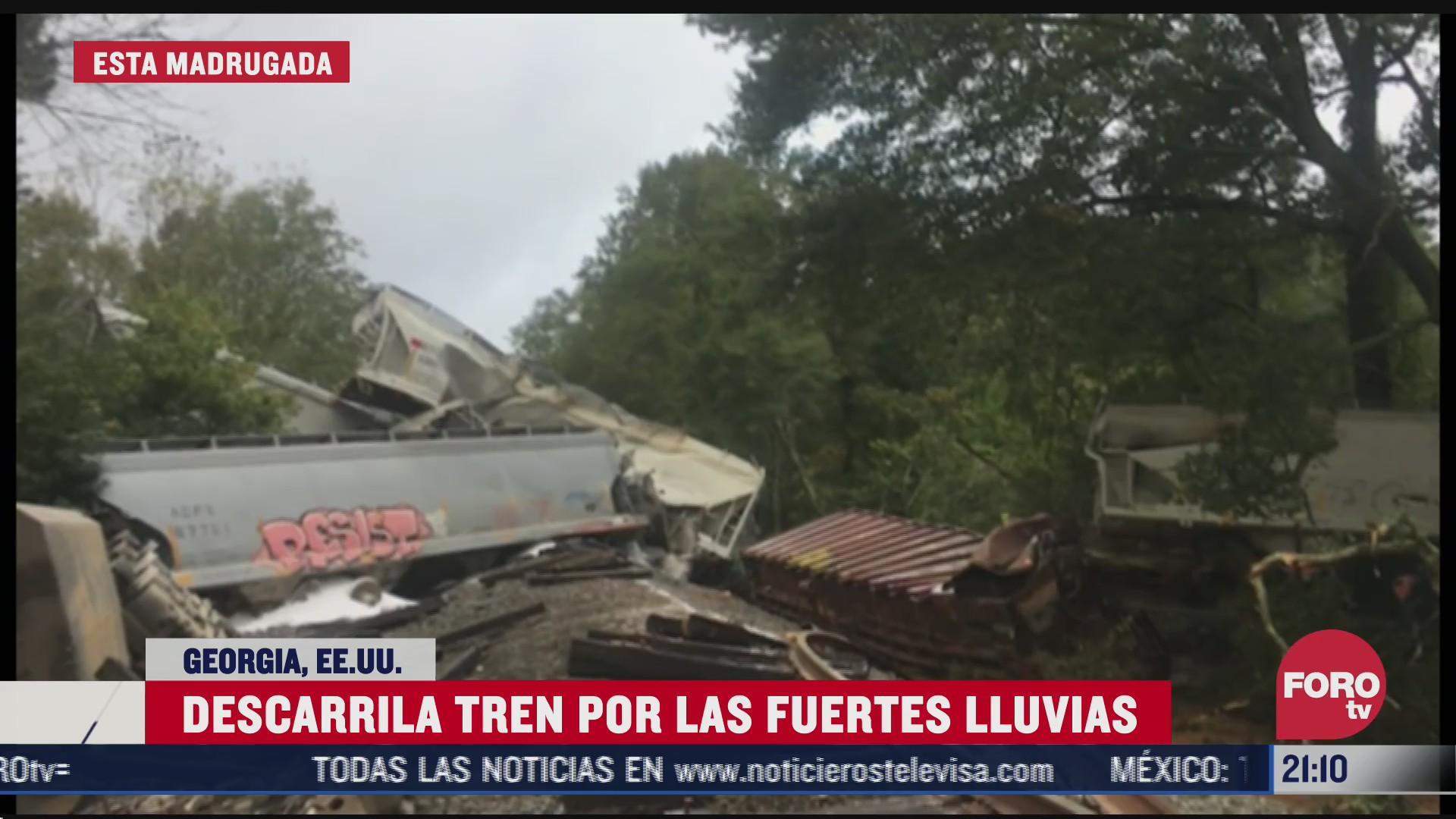 lluvias por delta causan descarrilamiento de tren en georgia