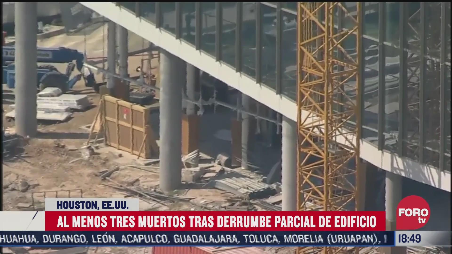 mueren tres trabajadores tras derrumbe en edificio de houston texas