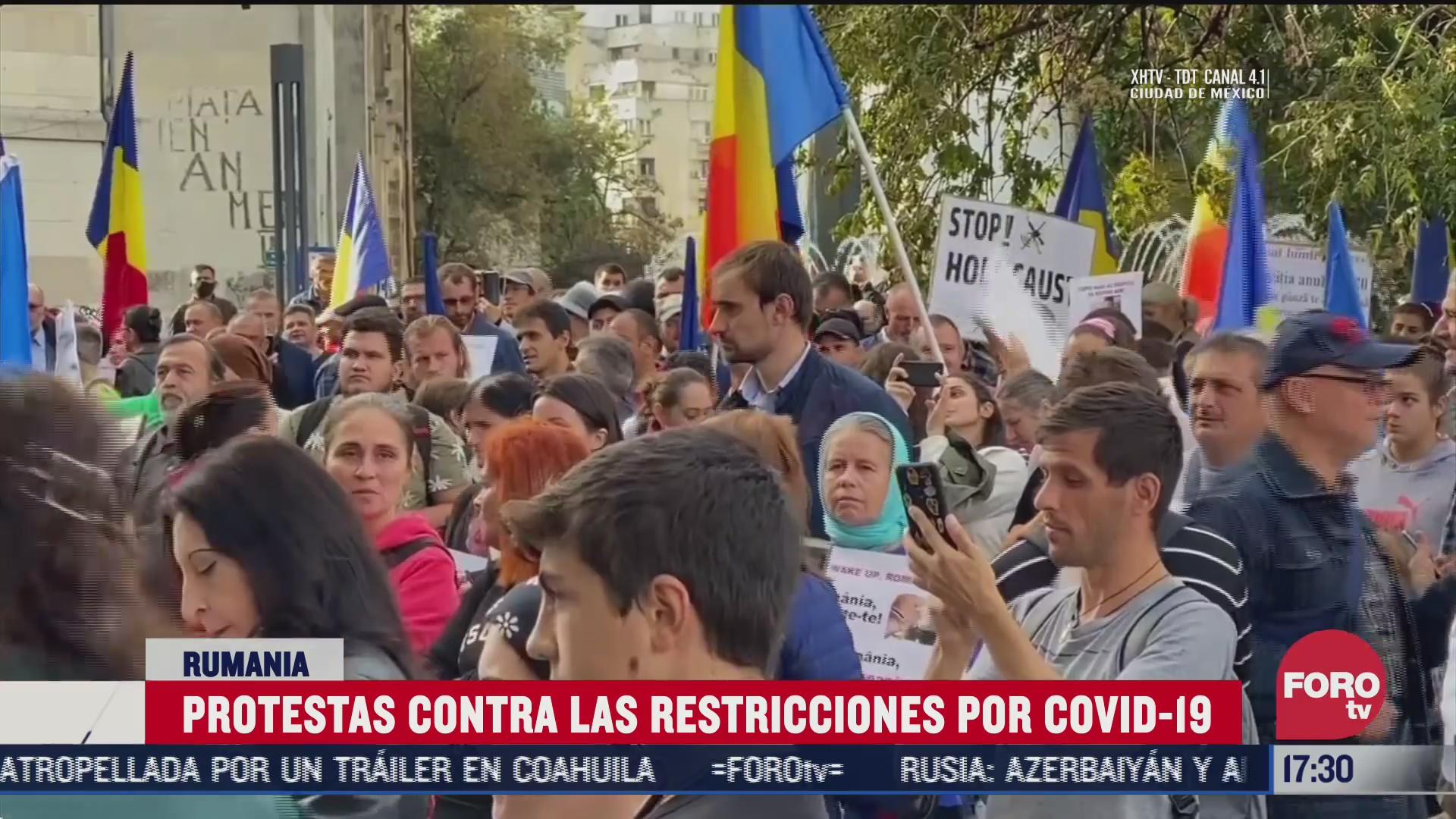 protestan en rumania contra confinamiento por covid