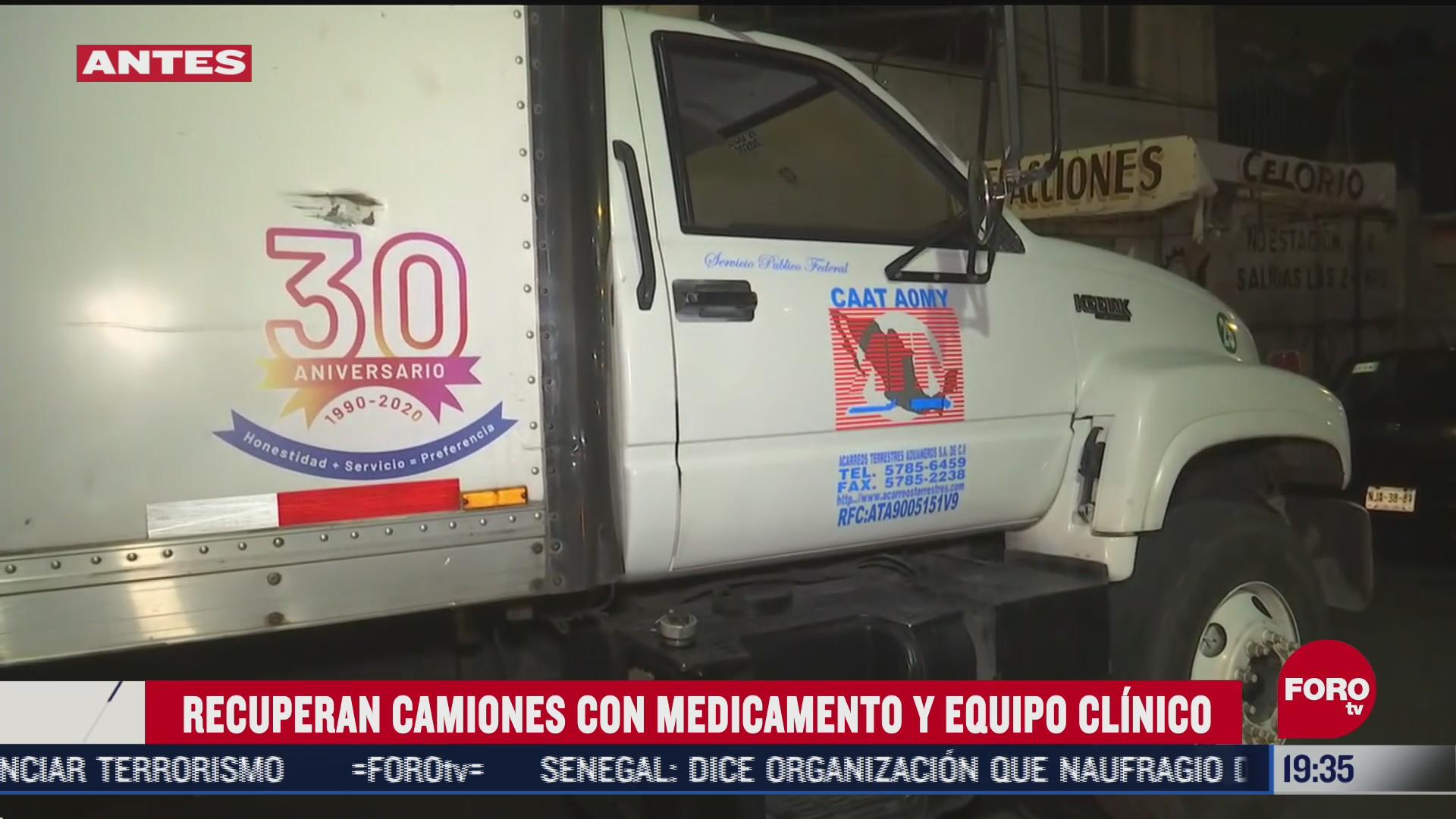recuperan camion con equipo medico en cdmx