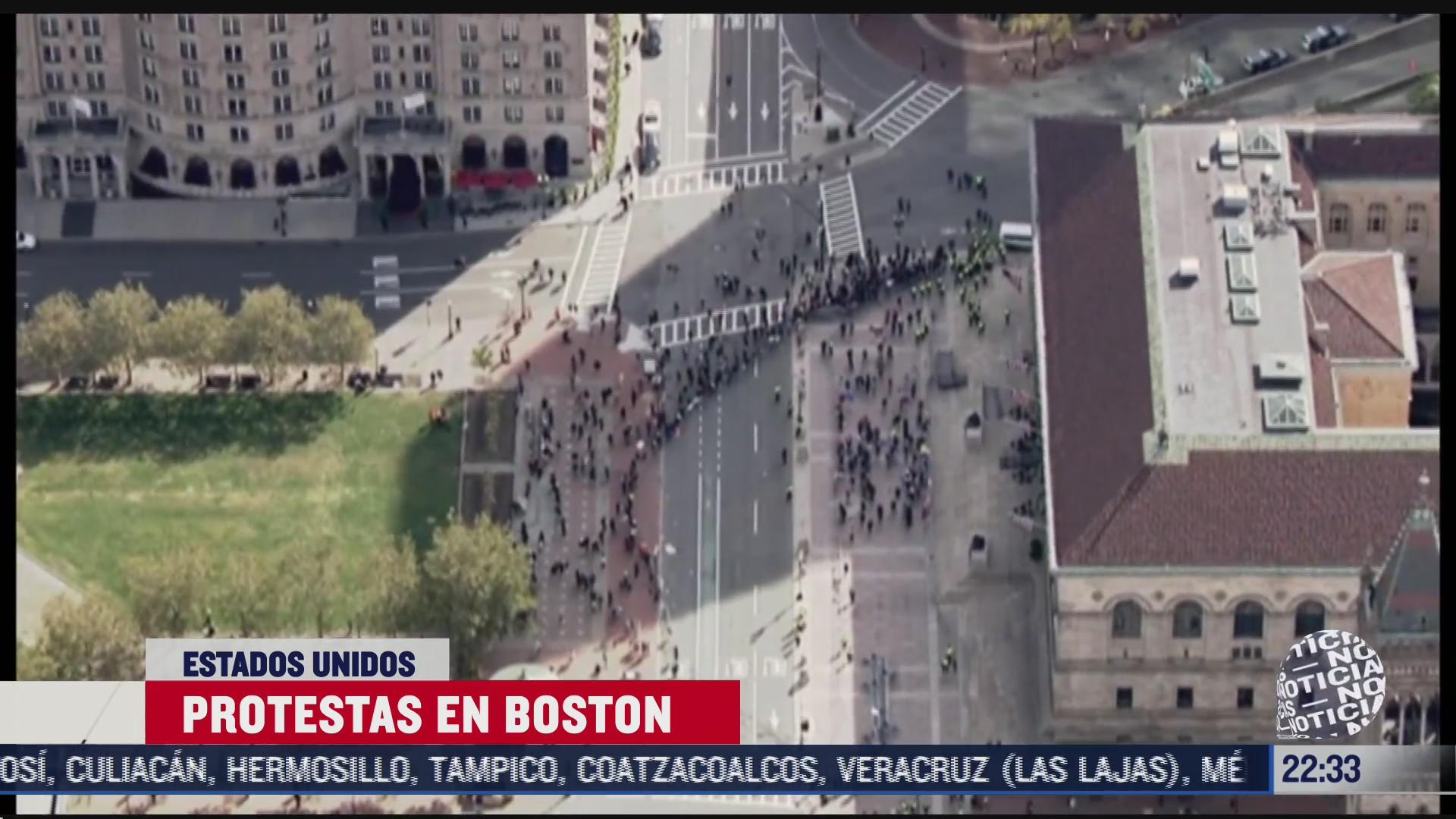 simpatizantes de trump chocan con manifestantes en boston