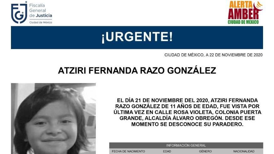 Activan Alerta Amber para localizar a Atziri Fernanda Razo González