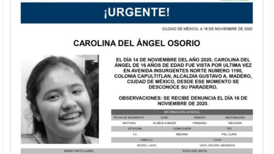 Activan Alerta Amber para localizar a Carolina del Ángel Osorio