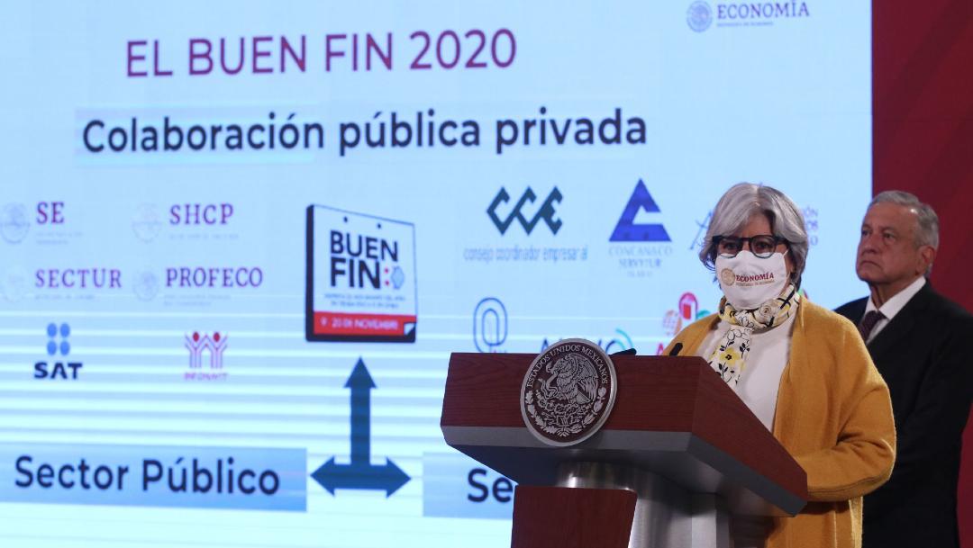 Graciela Márquez, secretaria de Economía, durante la presentación de la edición 2020 del Buen Fin en la mañanera