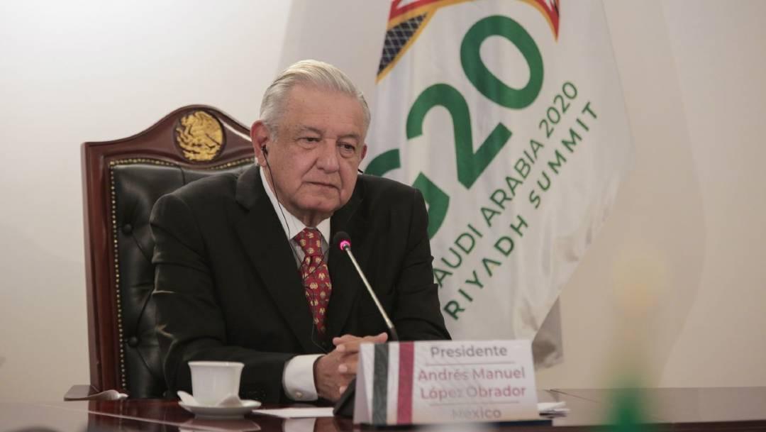 El presidente Andrés Manuel López Obrador participó este sábado en la cumbre virtual del G-20