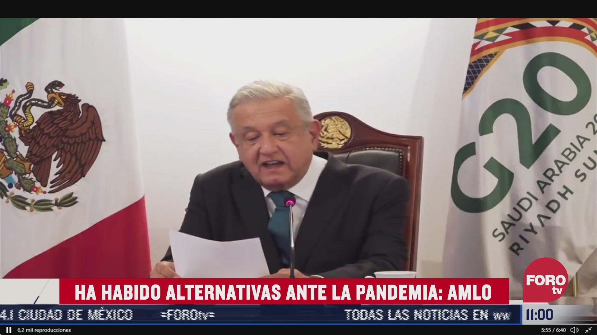 amlo menciona alternativas ante crisis por covid 19 a lideres del g