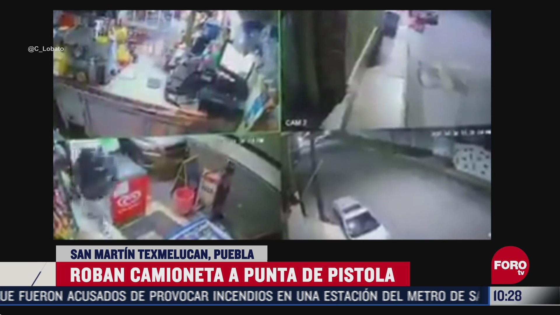 captan en video el robo de una camioneta en puebla