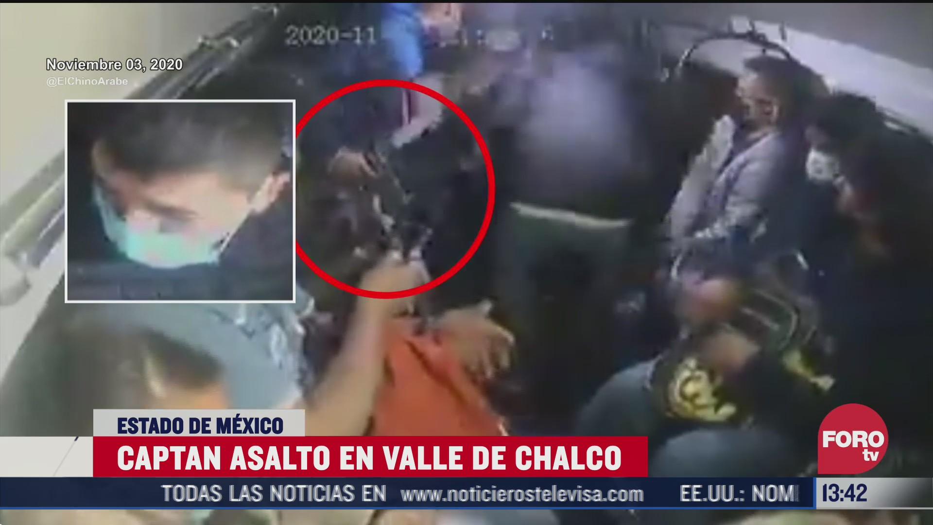 graban asalto a combi en valle de chalco