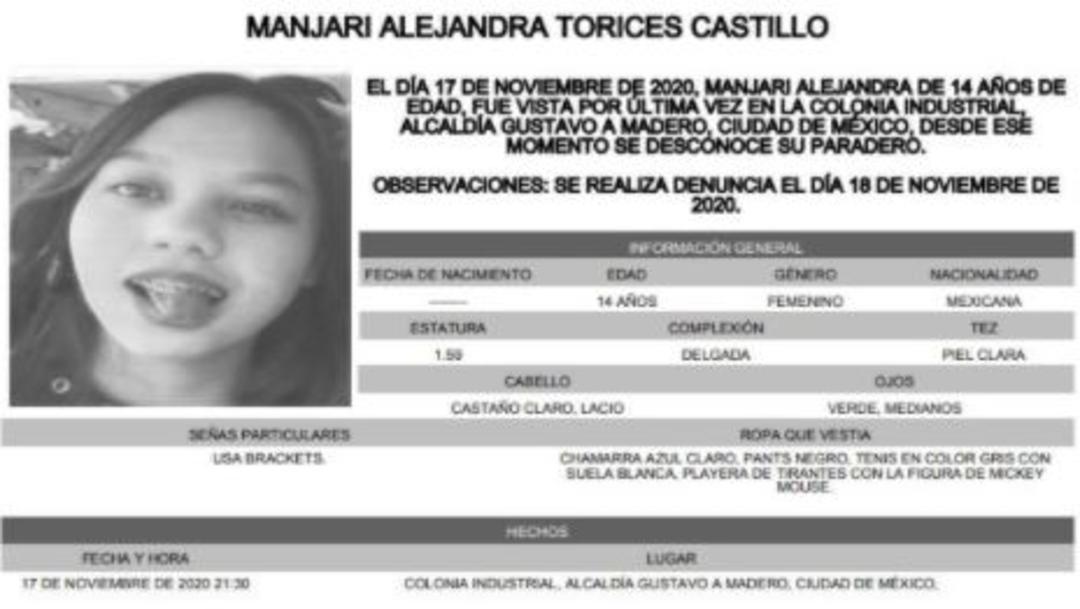 Activan Alerta Amber para localizar a Manjari Alejandra Torices Castillo.