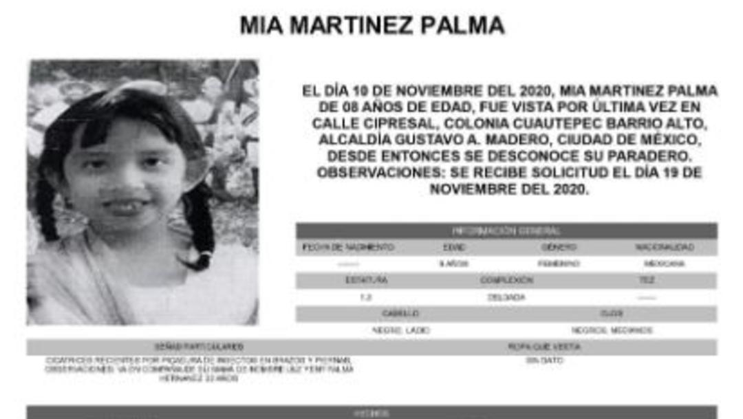 Activan Alerta Amber para localizar a Mia Martinez Palma