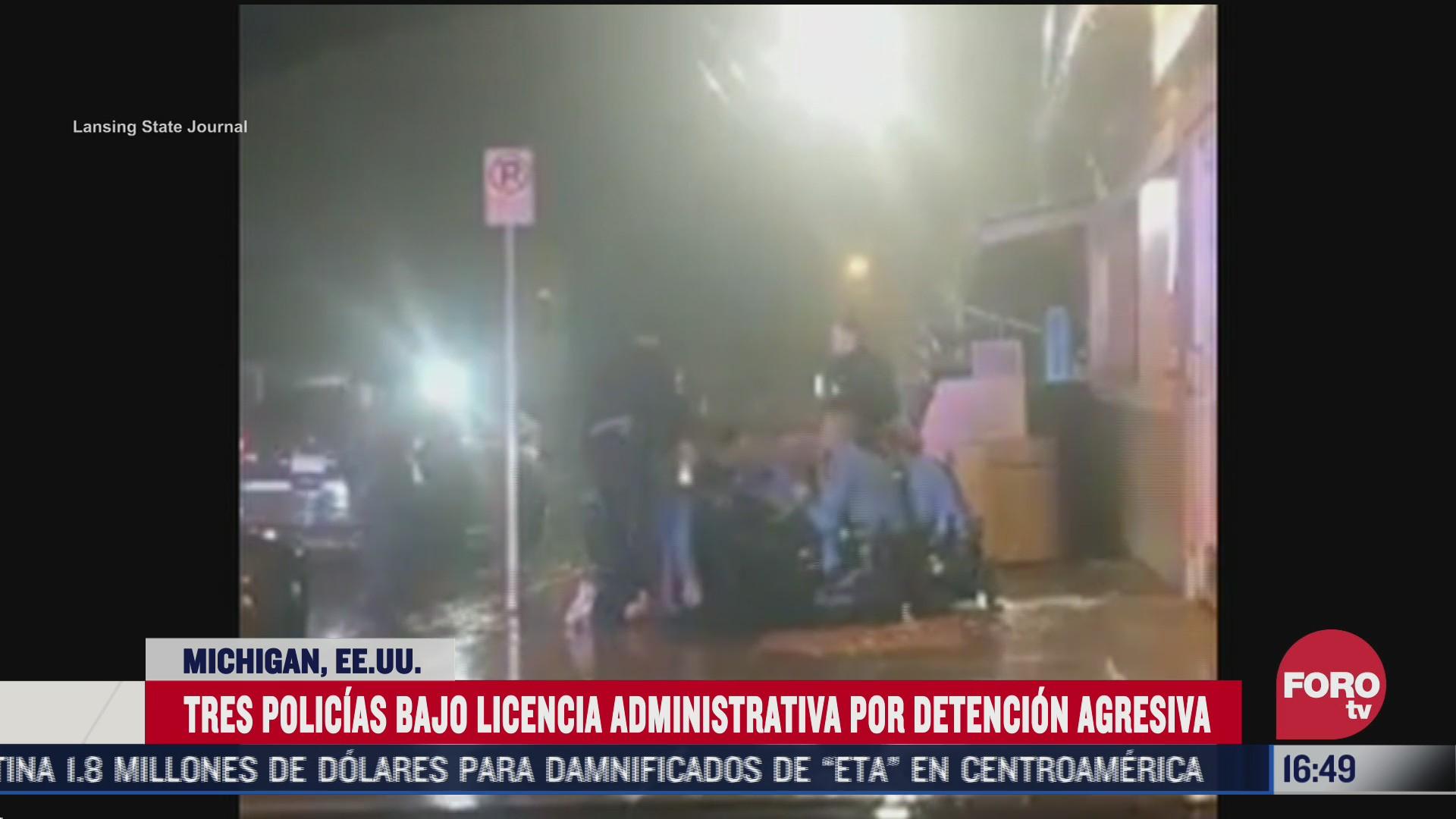 policias de michigan eeuu detienen agresivamente a ciudadano