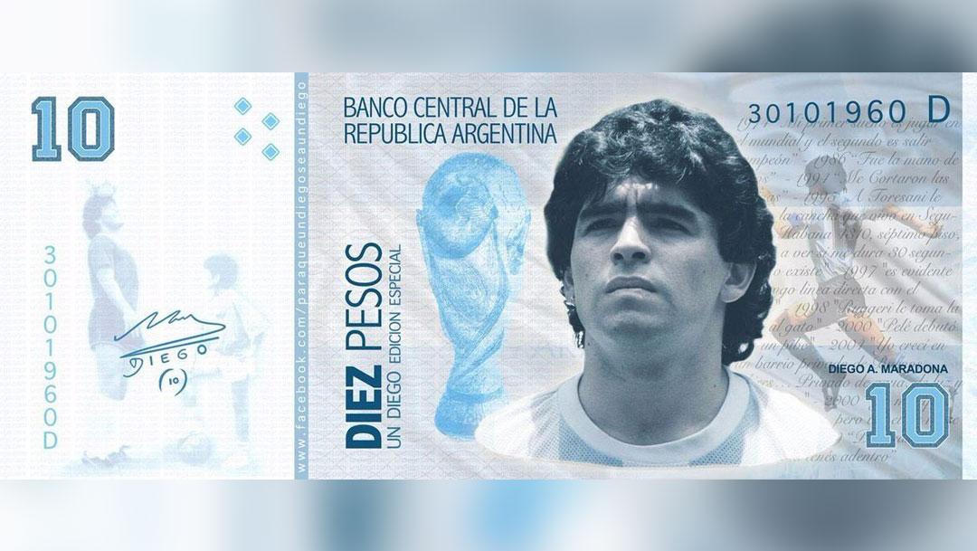 Usuarios en redes sociales quieren que el billete de diez pesos en Argentina tenga el rostro de Diego Armando Maradona