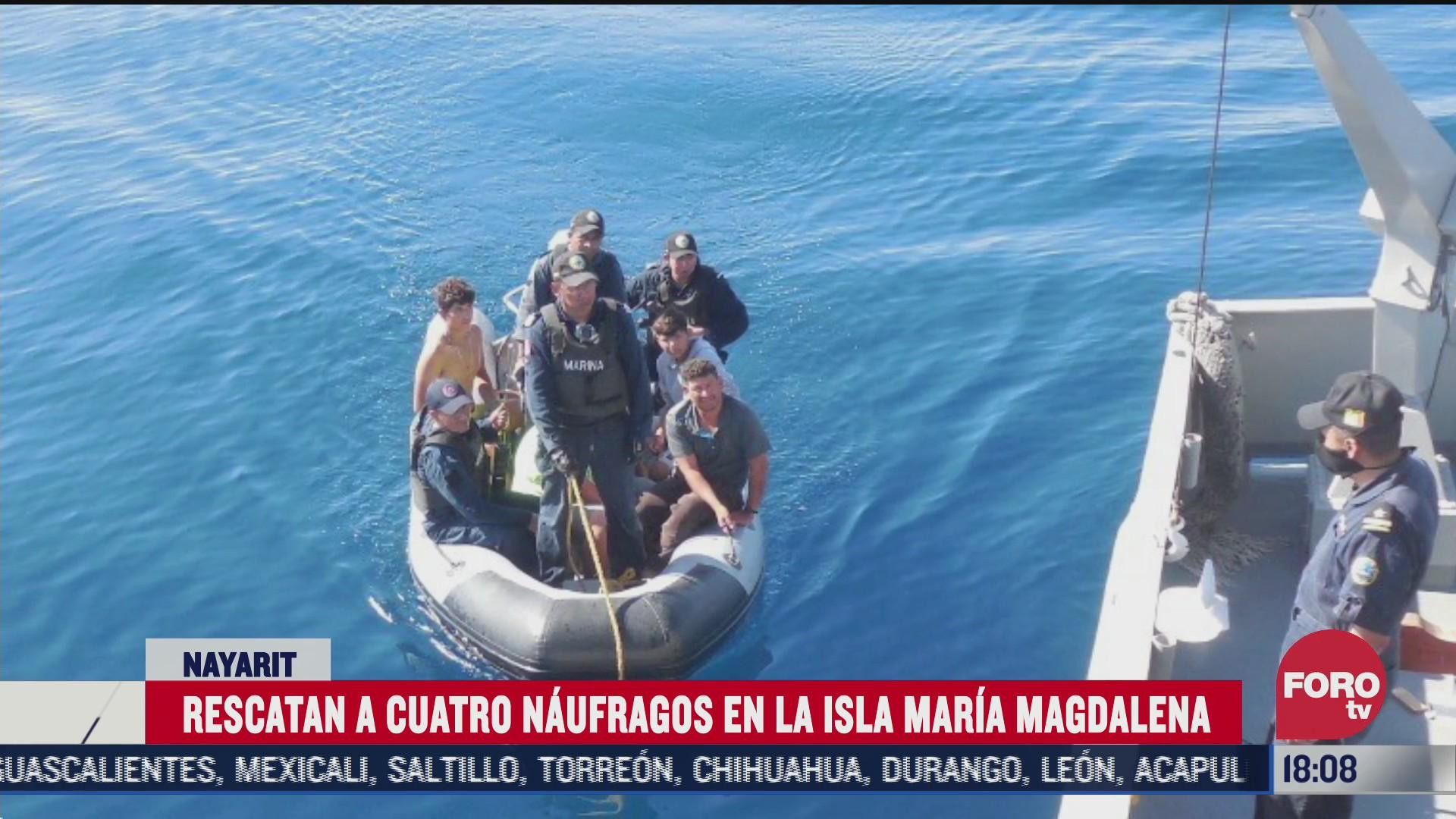 rescatan a 4 naufragos en la isla magdalena en nayarit