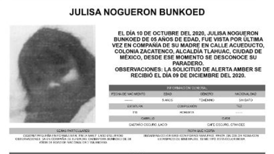 Activan Alerta Amber para localizar a Julisa Nogueron Bunkoed. (Foto:@FiscaliaCDMX)