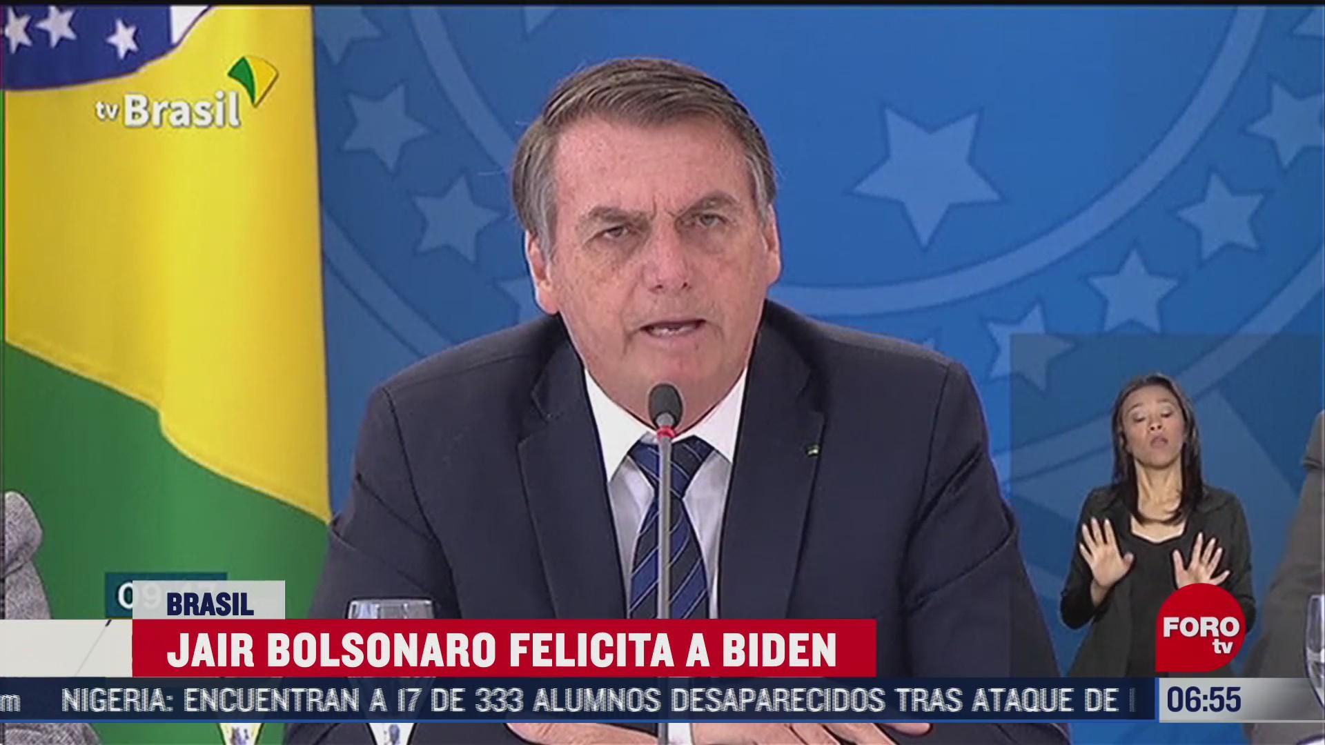 bolsonaro felicita a biden tras su victoria en las elecciones