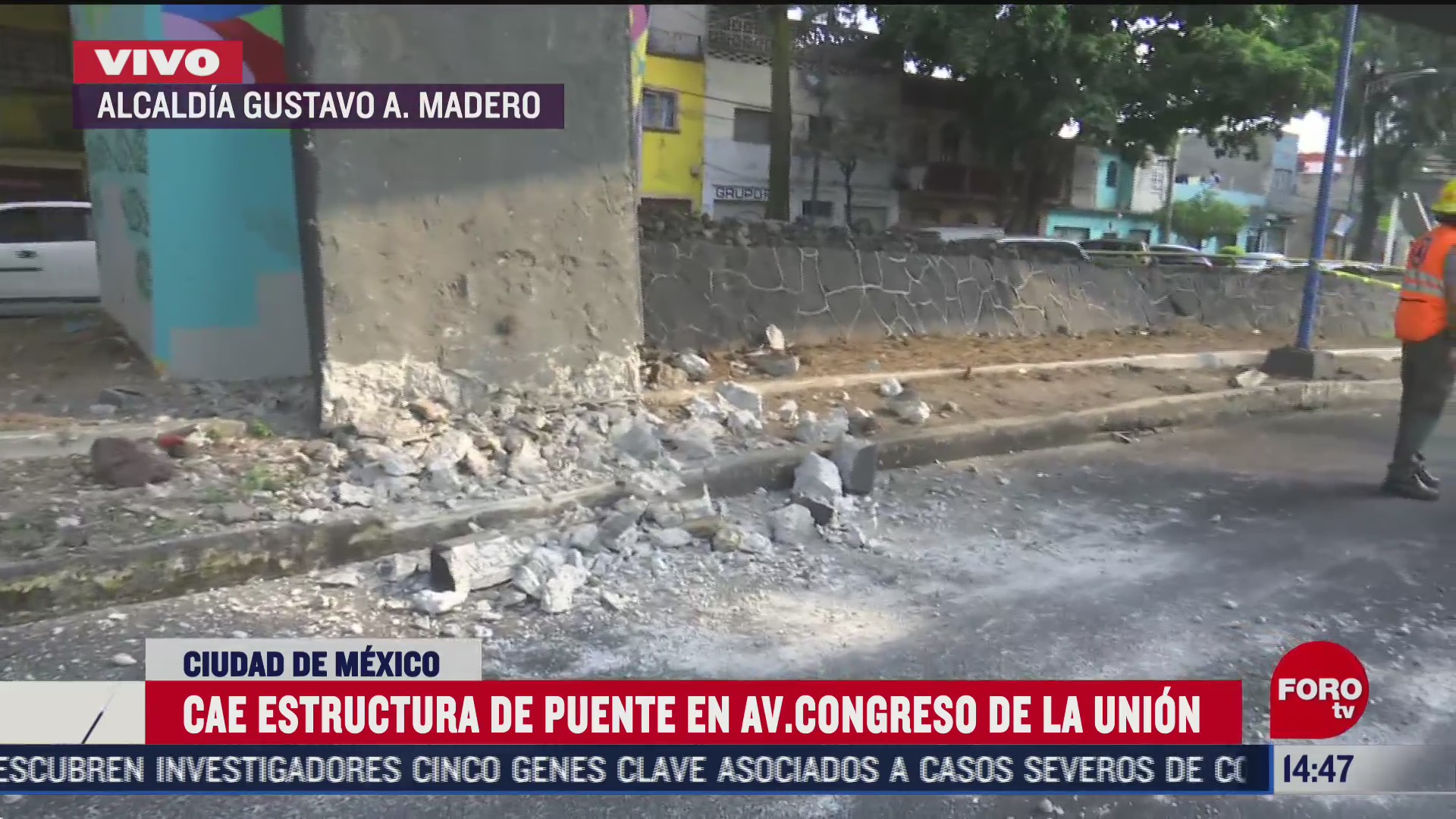 cae estructura de puente en avenida congreso de la union
