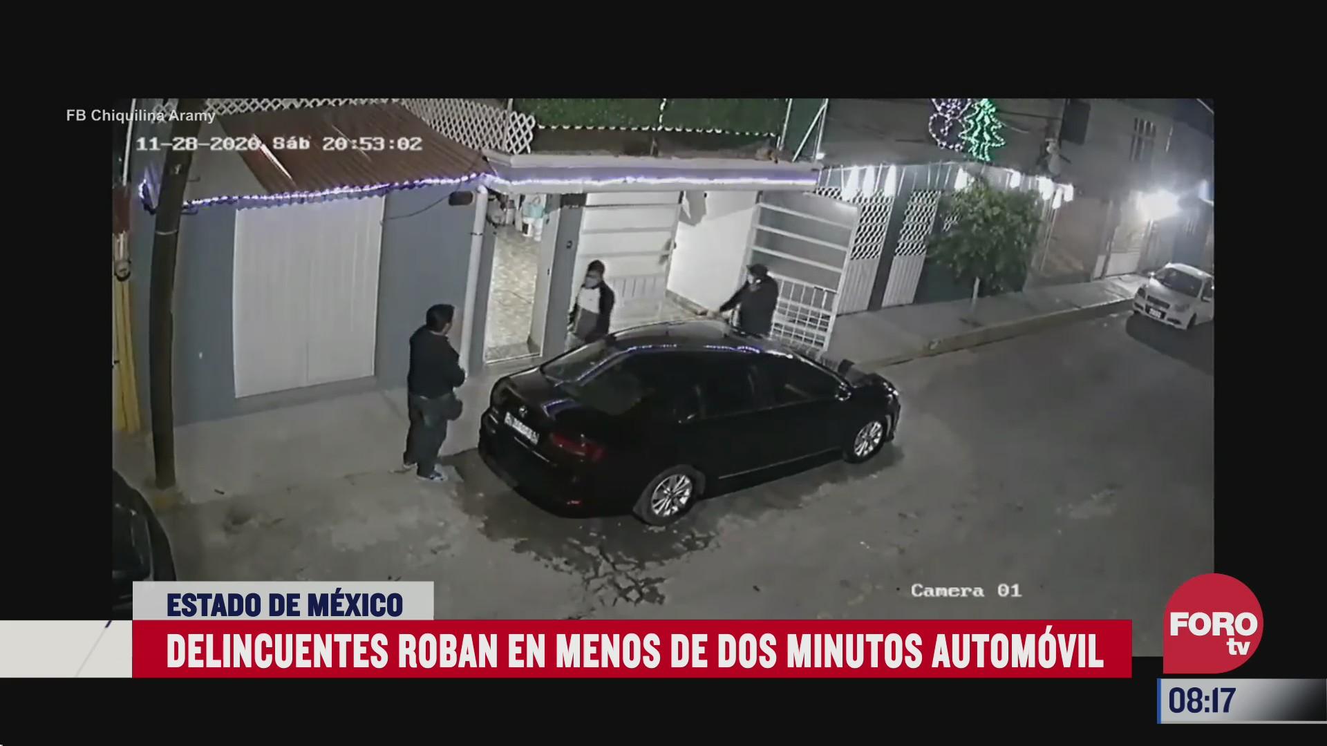 captan en video el robo de un automovil en el estado de mexico