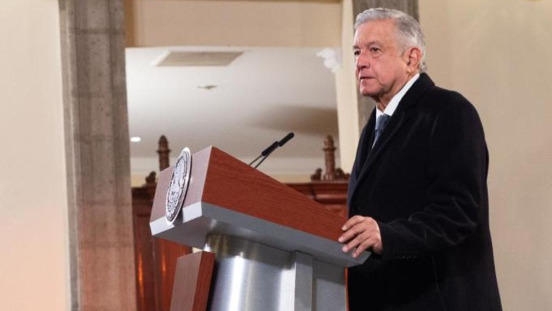 Andrés Manuel López Obrador, presidente de México durante la conferencia de prensa en Palacio Nacional hablando sobre el IEPS