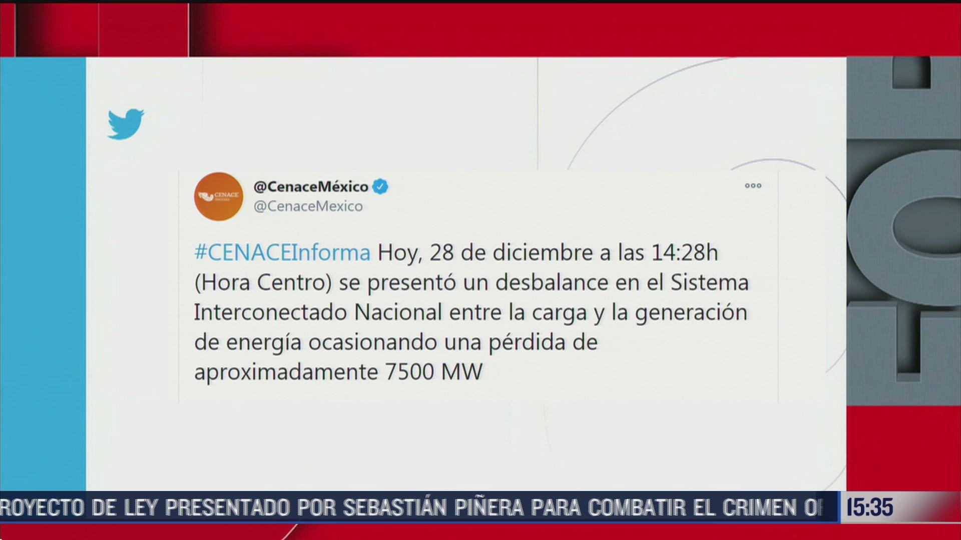 desbalance en el sistema interconectado nacional ocasiona falla en suministro de luz en valle de mexico