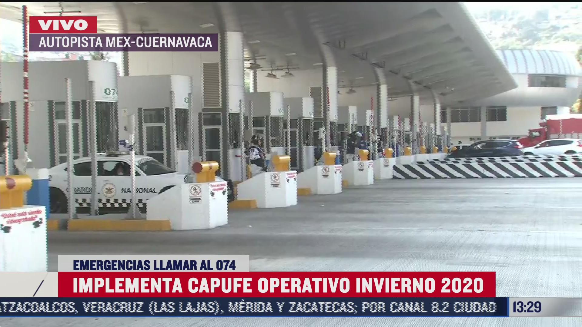 implementan operativo invierno 2020 en carreteras de capufe