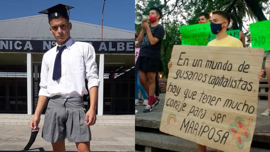 Apoyan a alumno que denunció el machismo usando faldas