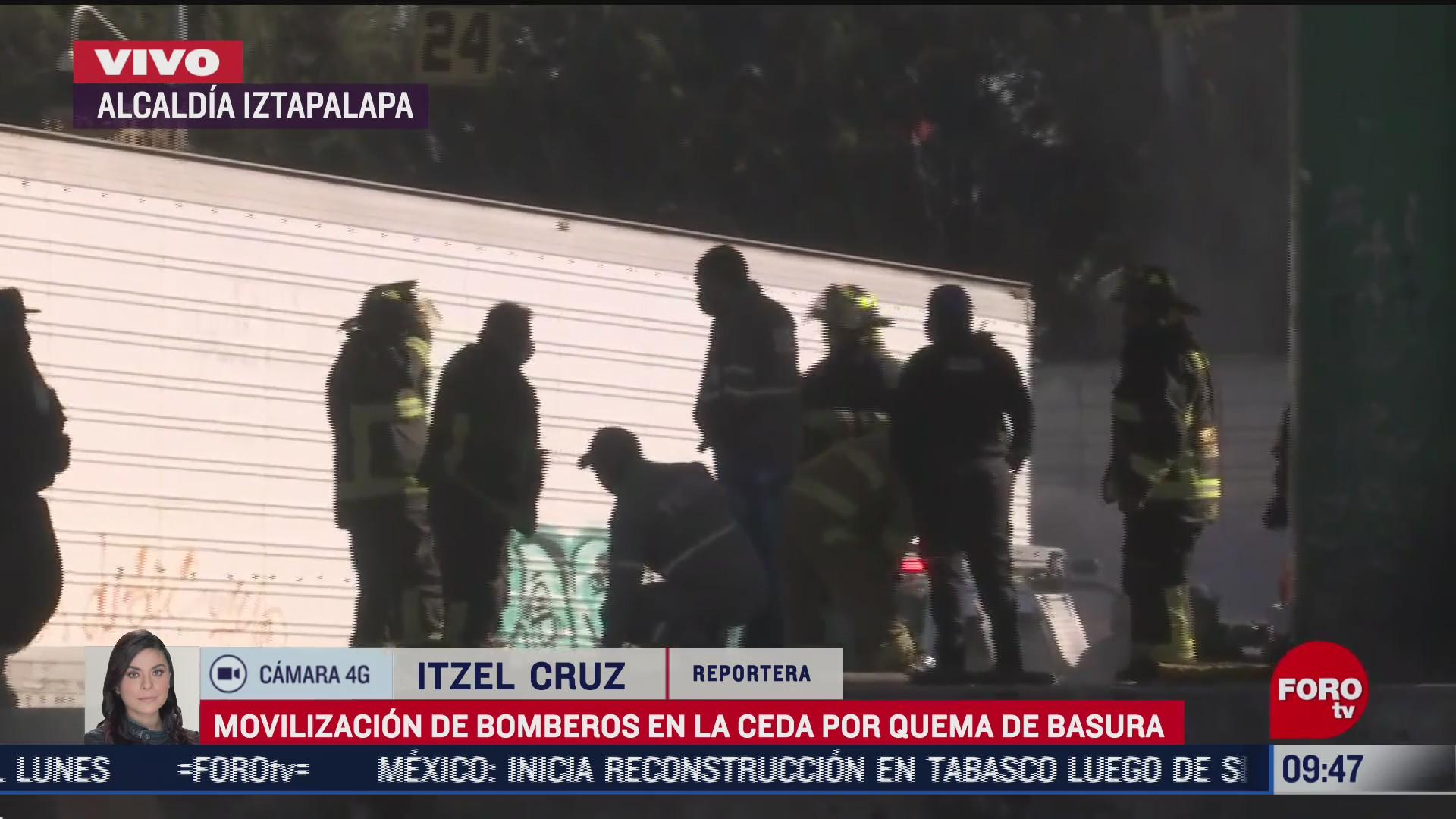 movilizacion de bomberos por quema de basura en central de abastos cdmx