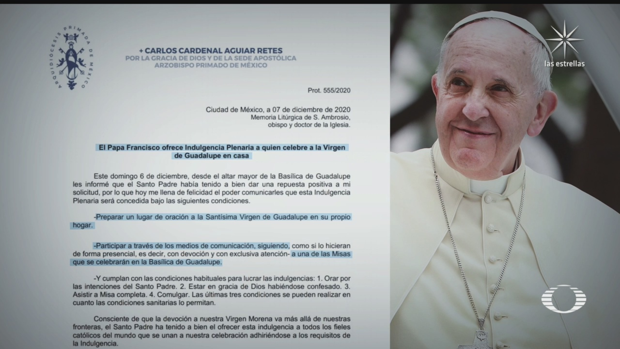 papa concede indulgencia plenaria a fieles que celebran a la virgen de guadalupe