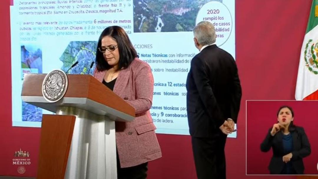 Laura Velázquez, coordinadora Nacional de Protección Civil, en la conferencia matutina de AMLO.