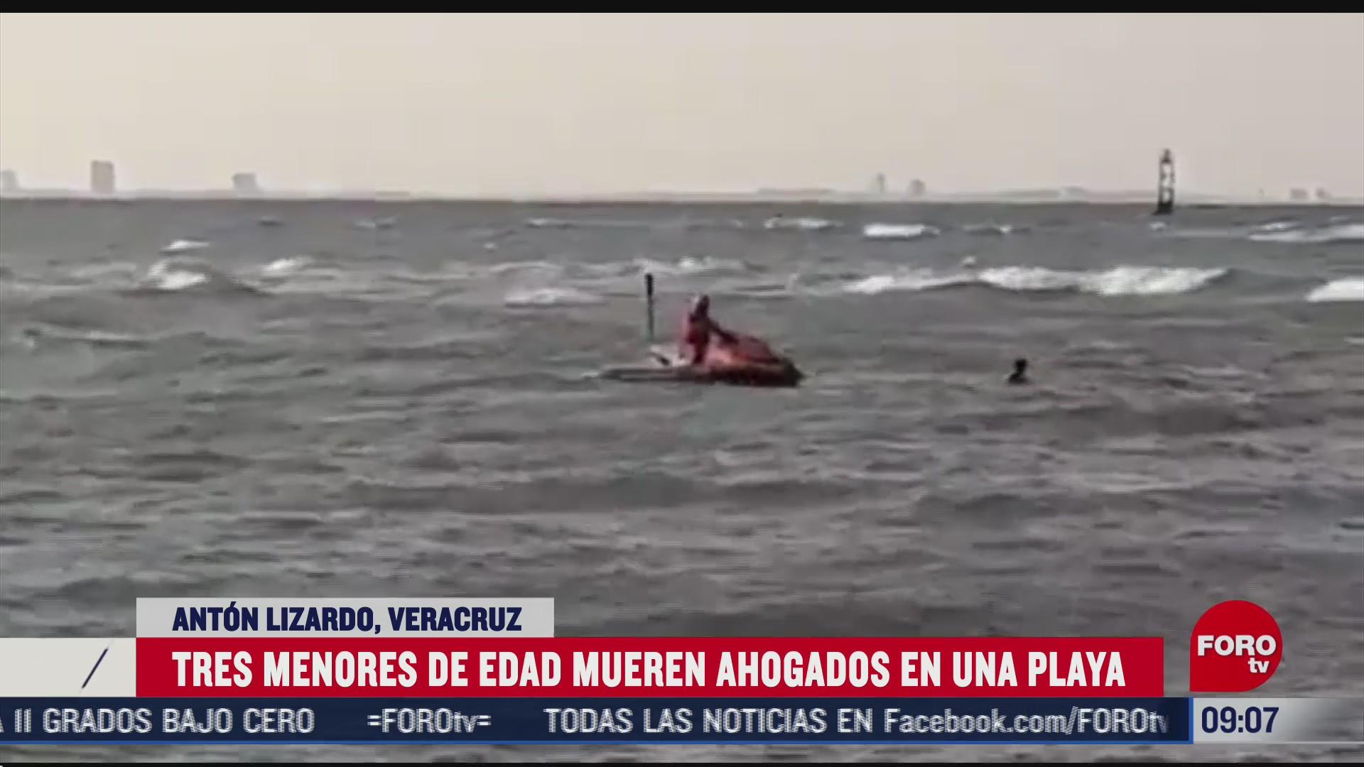 tres menores mueren ahogados en una playa en veracruz