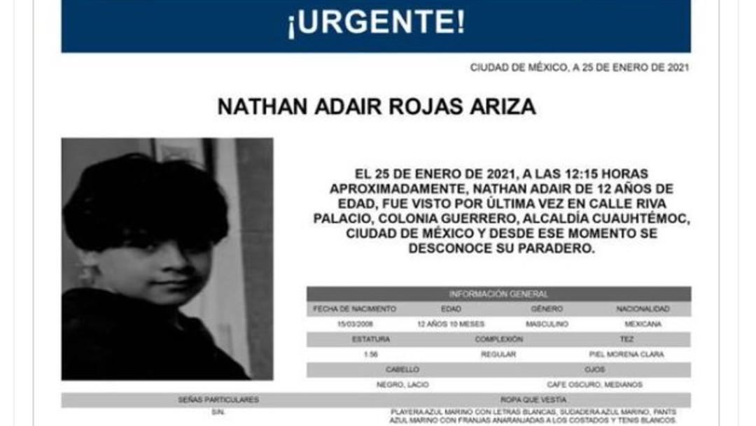 Activan Alerta Amber para localizar a Nathan Adair Rojas Ariza