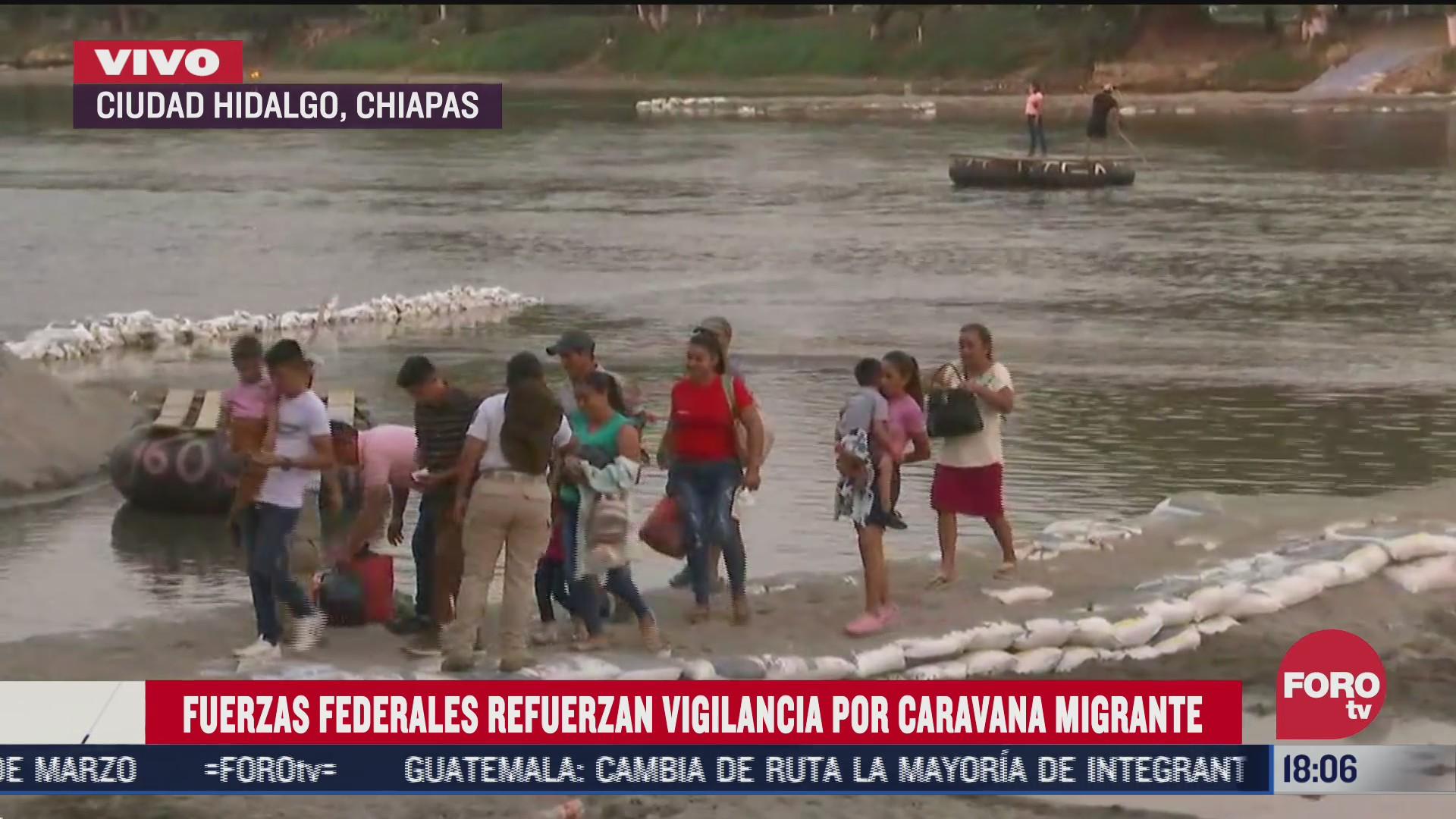 autoridades mexicanas mantienen vigilancia ante arribo de caravana migrante
