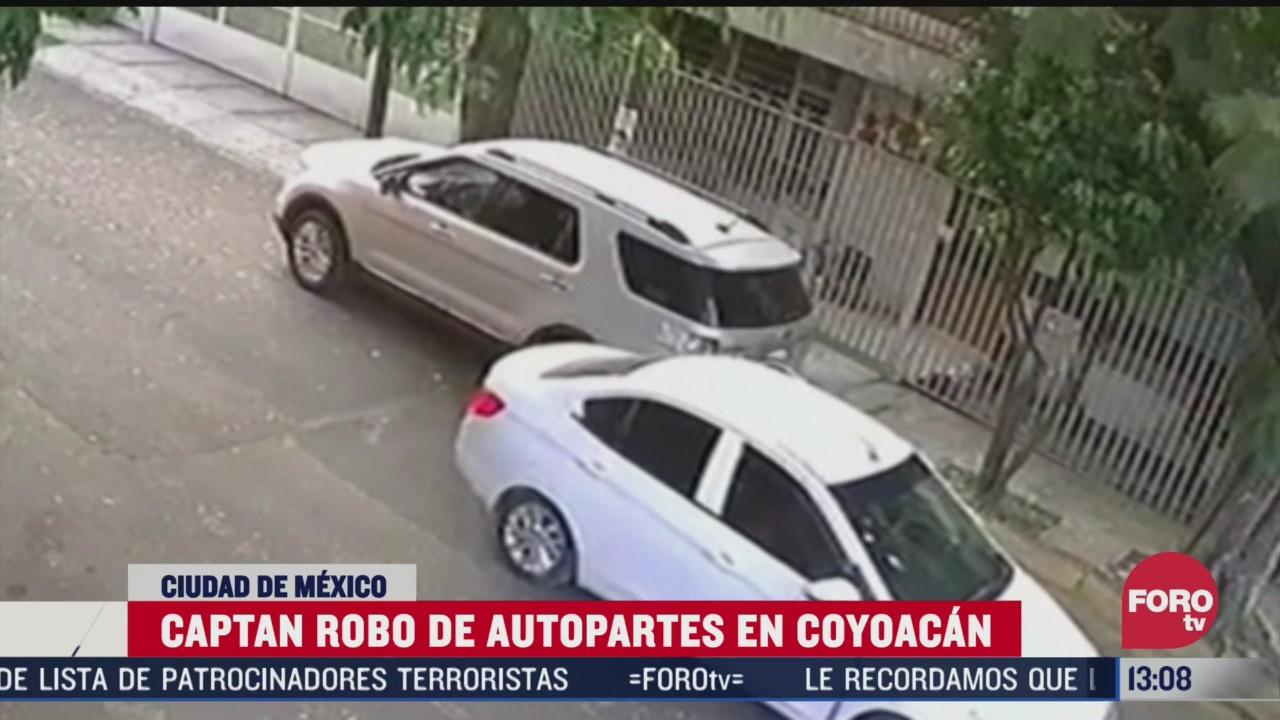 camara de seguridad capta robo de autopartes en campestre churubusco cdmx