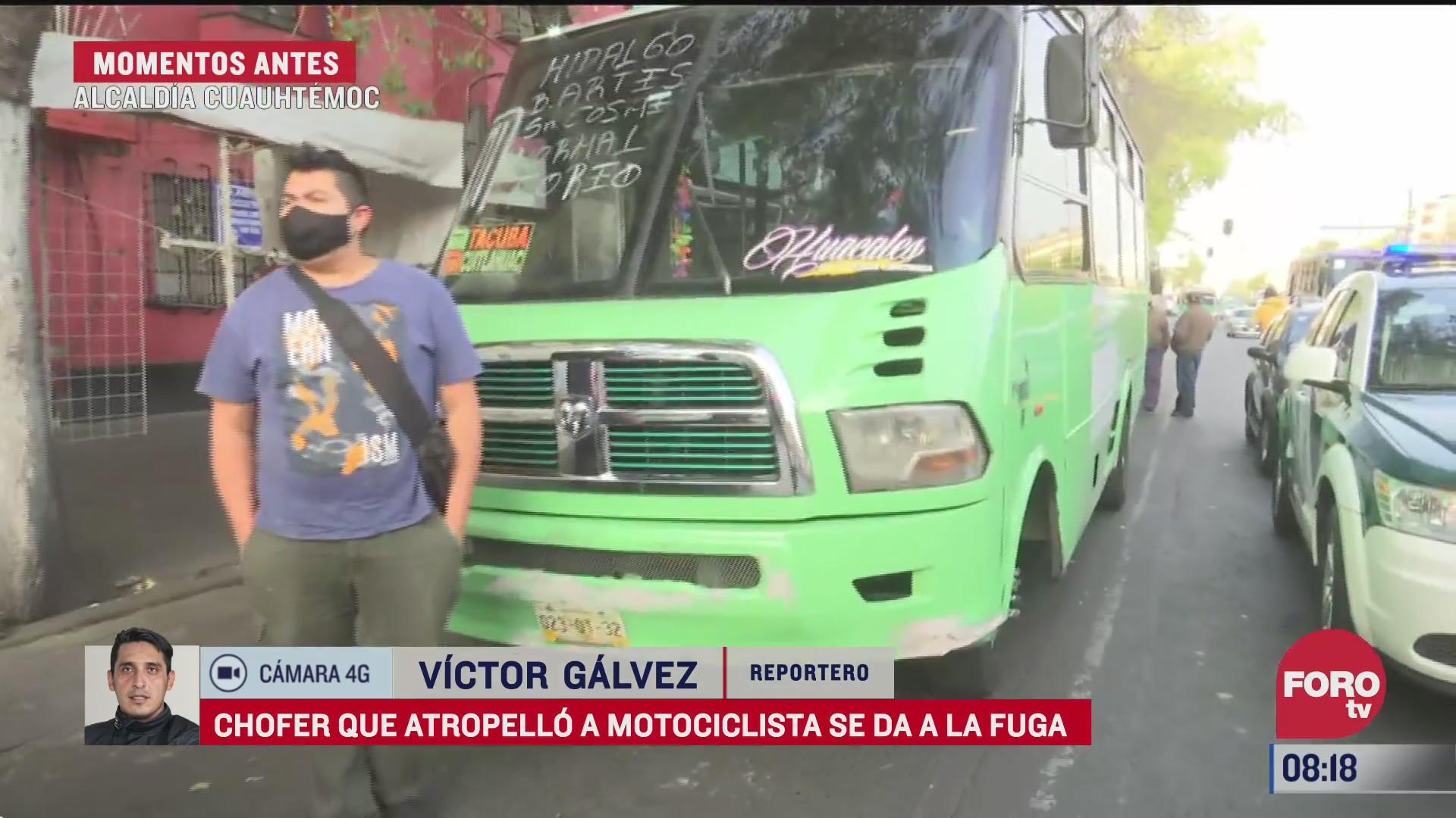 camion de transporte publico arrolla a motociclista en cdmx