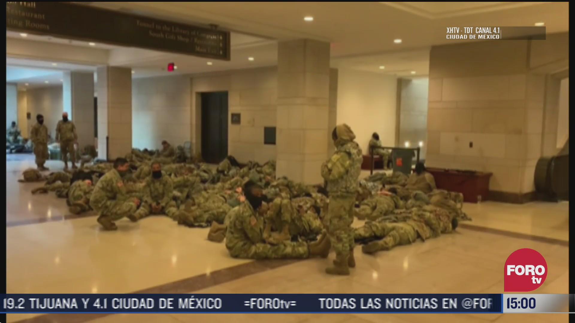es la primera vez que la guardia nacional duerme en el suelo del capitolio
