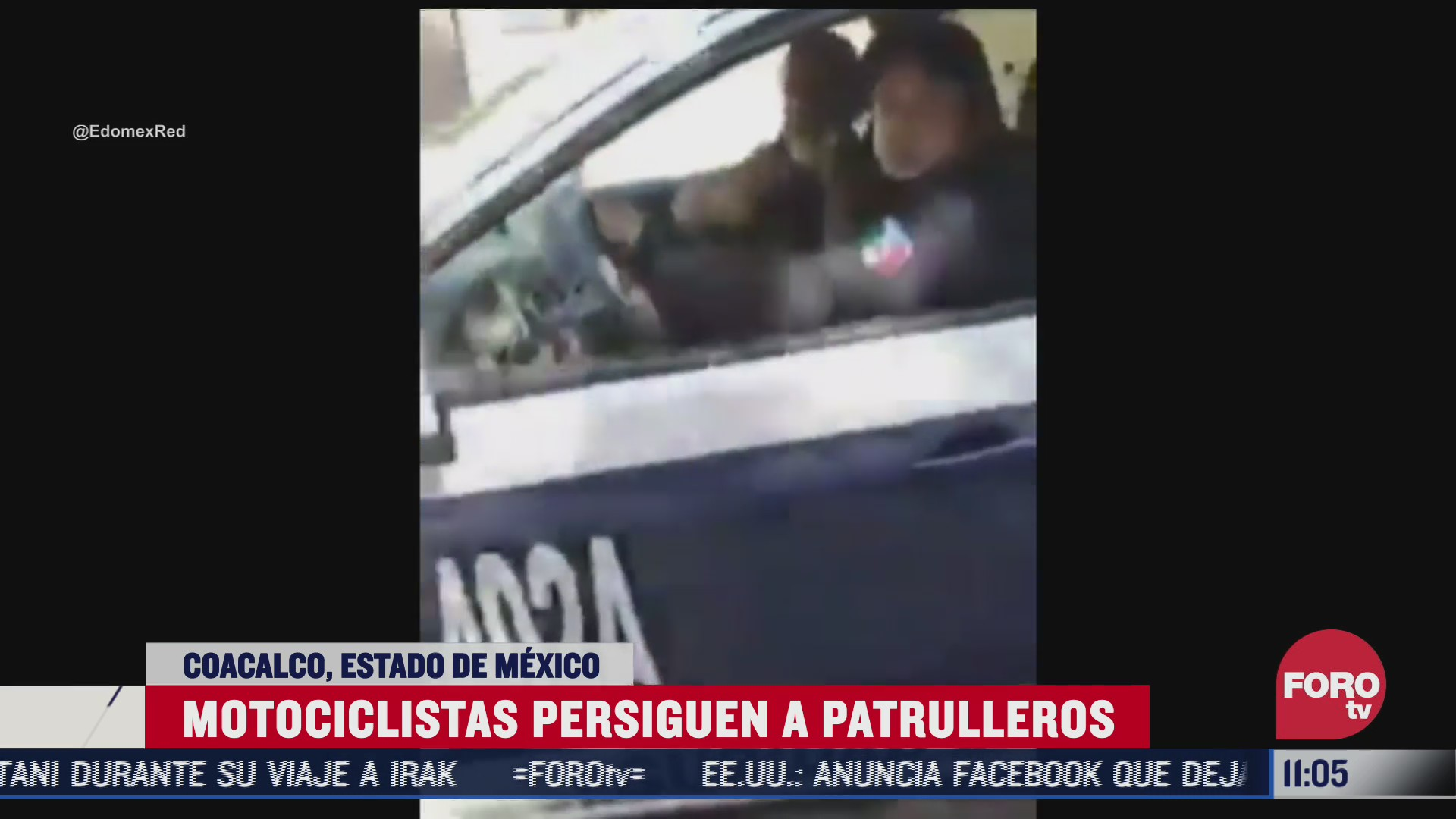 motociclistas persiguen a patrulleros en coacalco