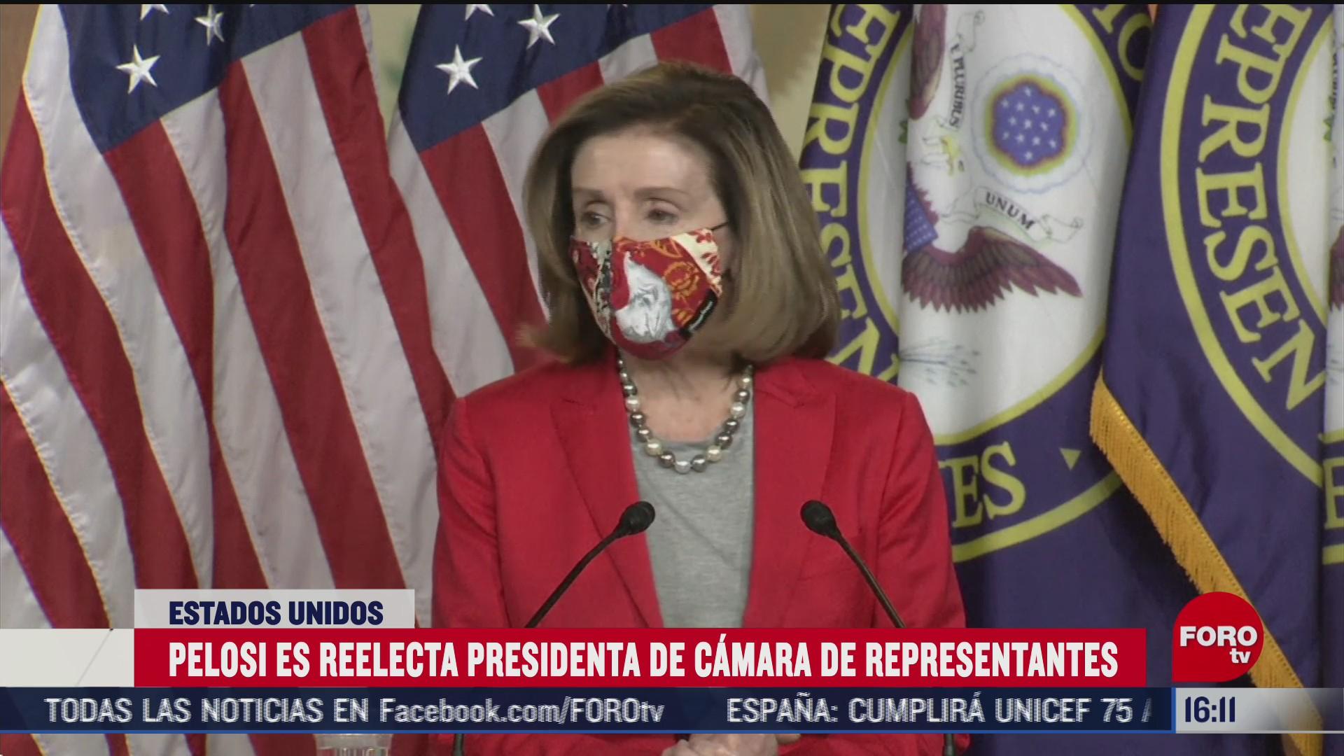 Nancy Pelosi logró la reelección al frente de la Cámara de Representantes