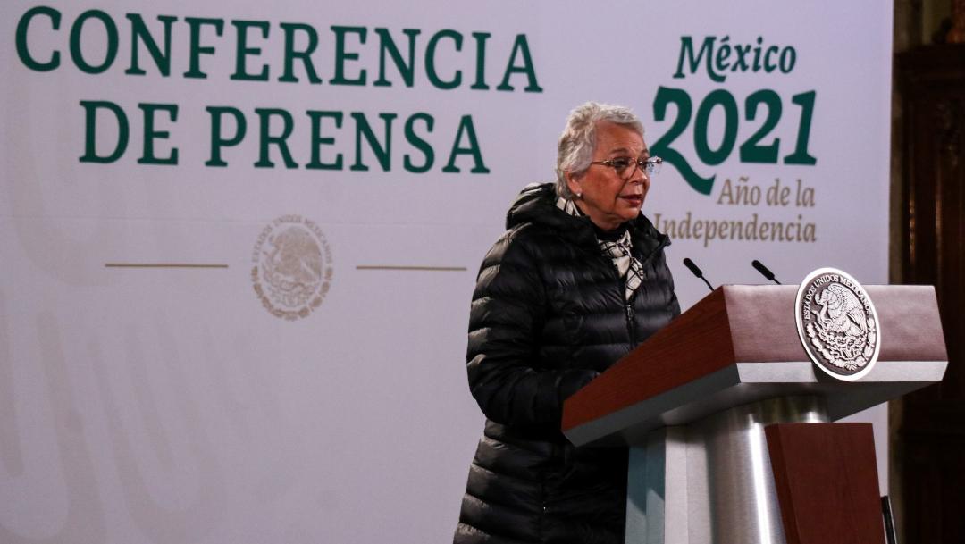 Olga Sánchez Cordero durante la conferencia matutina en Palacio Nacional.