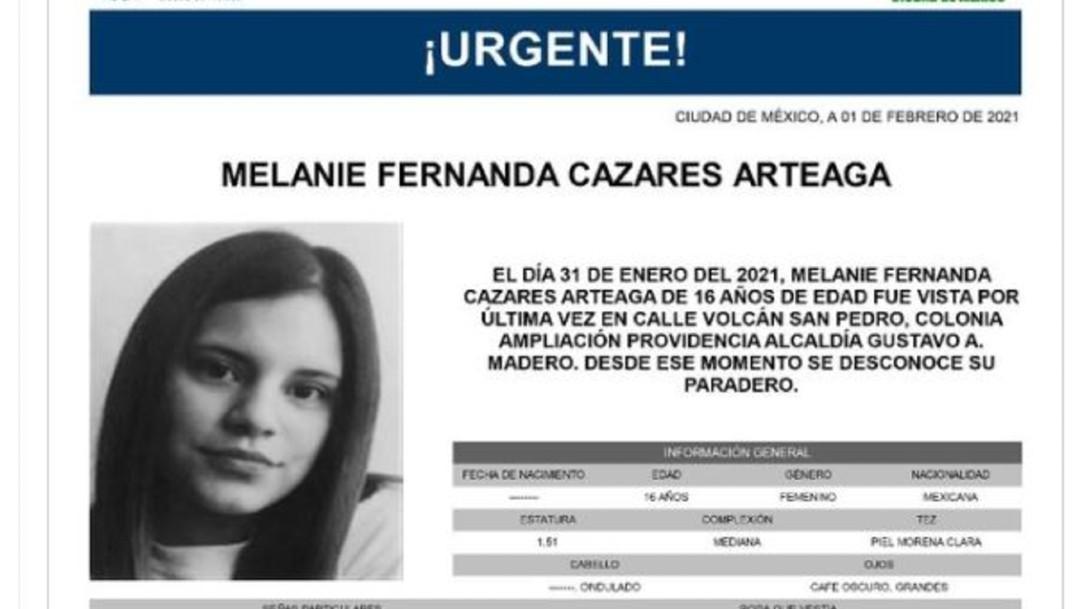 Activan Alerta Amber para localizar a Melanie Fernanda Cazares Arteaga