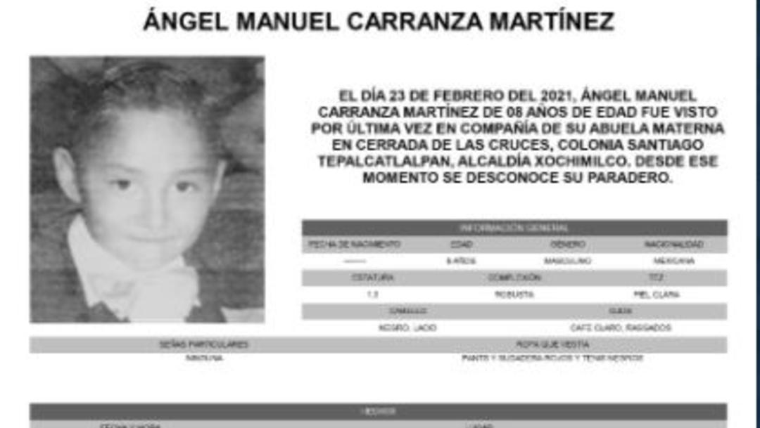 Activan Alerta Amber para localizar a Ángel Manuel Carranza Martínez