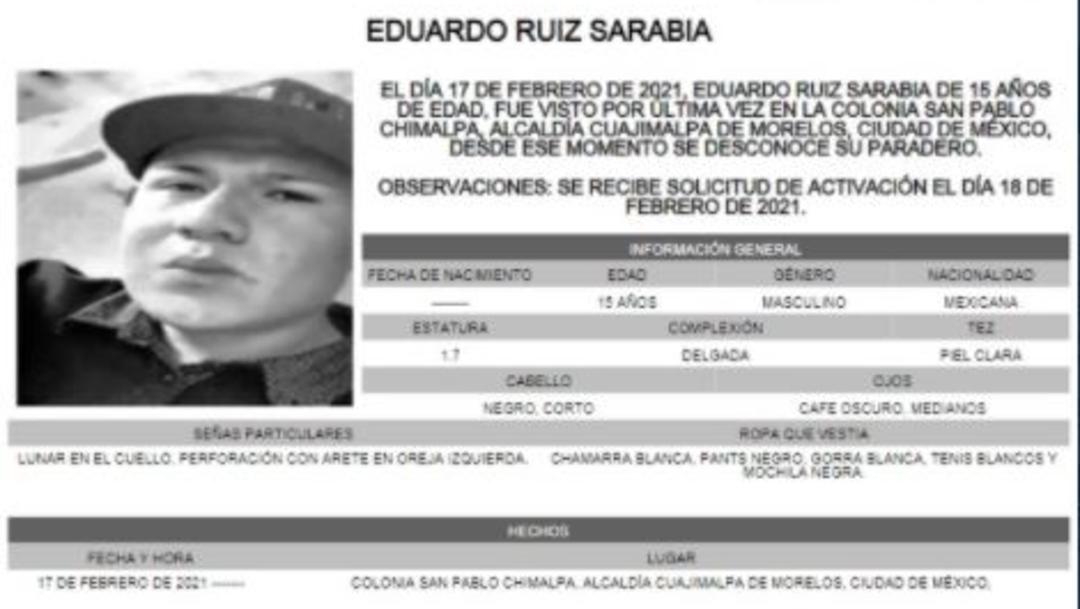 Activan Alerta Amber para localizar a Eduardo Ruíz Sarabia