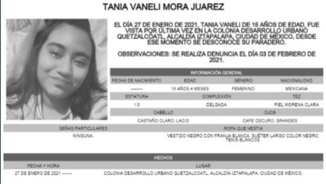 Activan Alerta Amber para localizar a Tania Vaneli Mora Juárez