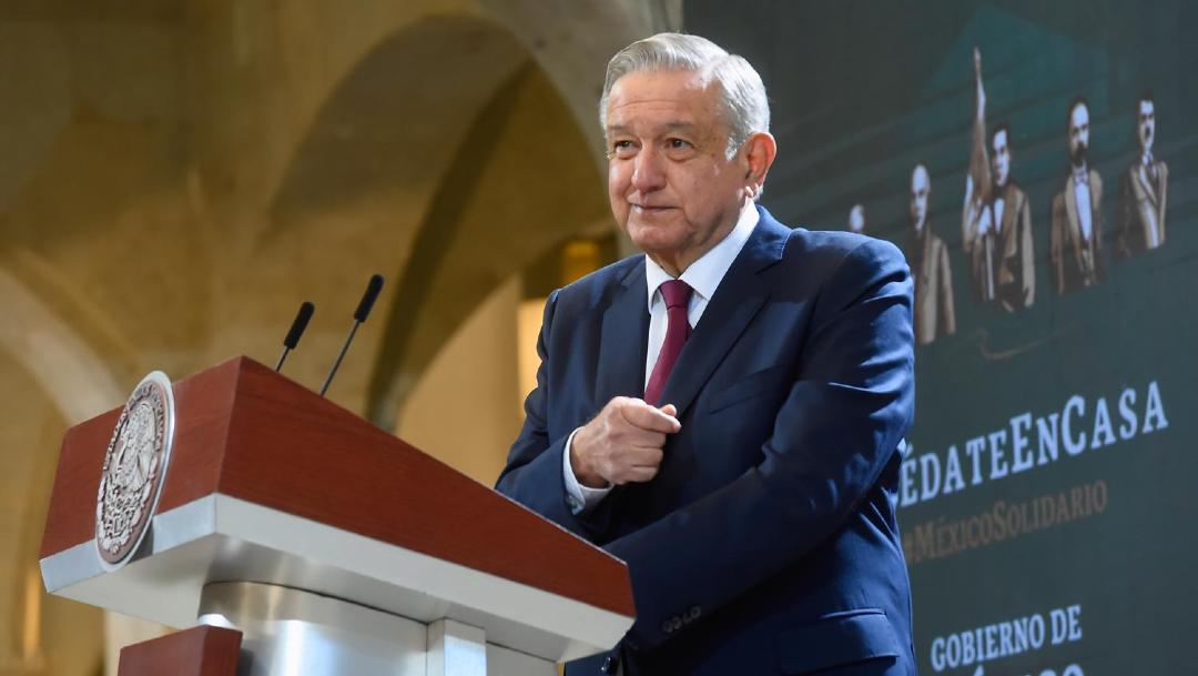 Andrés Manuel López Obrador, presidente de México, en conferencia de prensa en Palacio de Gobierno de Oaxaca