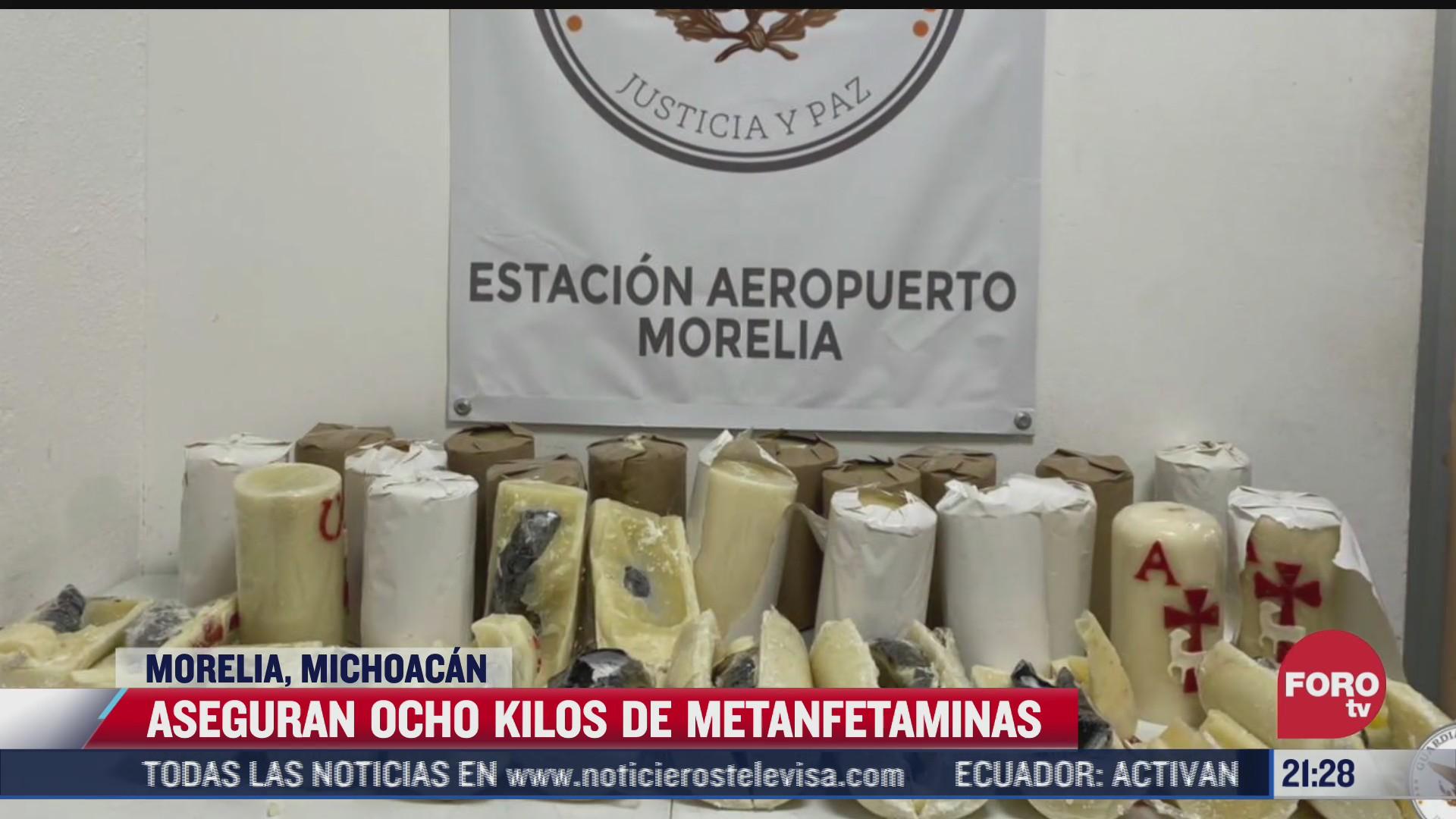 aseguran ocho kilos de metanfetaminas en morelia michoacan