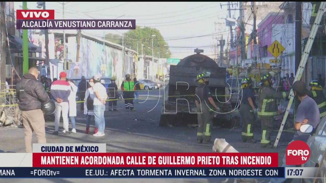 calle guillermo prieto continua acordonada tras explosion de pipa