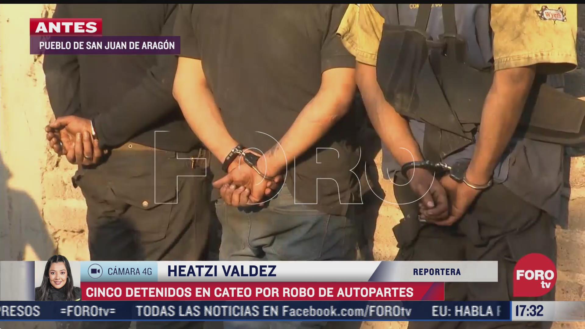 cinco detenidos tras cateo por robo de autopartes en san juan de aragon cdmx