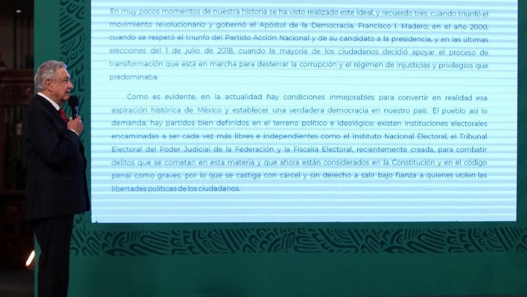 El presidente López Obrador lee carta a los gobernadores