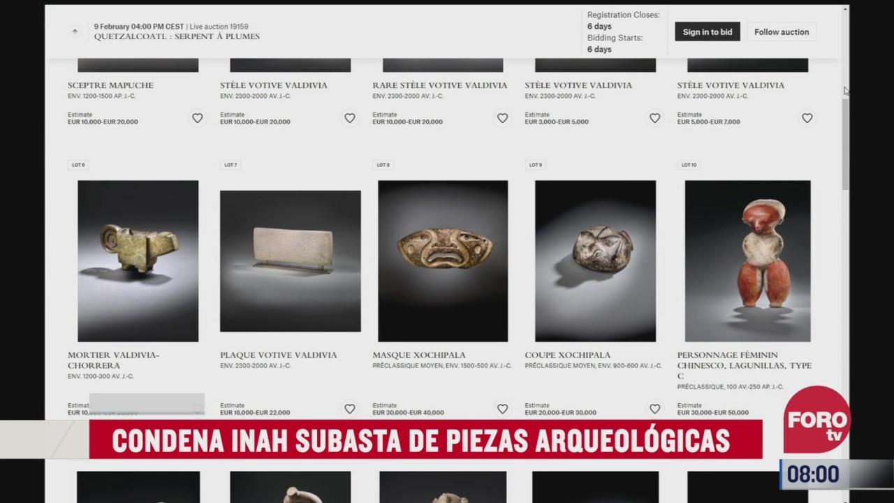 inah condena subasta de piezas arqueologicas en francia