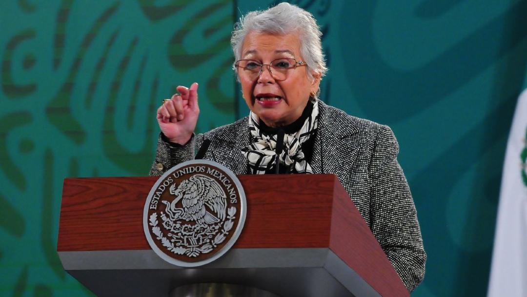 Olga Sánchez Cordero, secretaria de Gobernación, durante su participación en la conferencia mañanera.