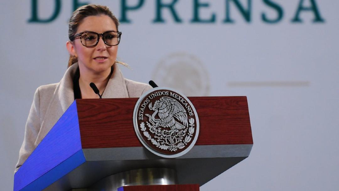 Paulina Téllez, secretaría técnica de la Unidad de Apoyo al Sistema de Justicia, en conferencia de prensa desde Palacio Nacional